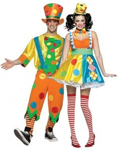 Product description : Clown costume for couples Have fun !  Clown costume for women :  This clown costume for women consists of a dress , a hat and a bow tie ( make-up, tights and shoes not included ) .     This colorful dress has sewn on s