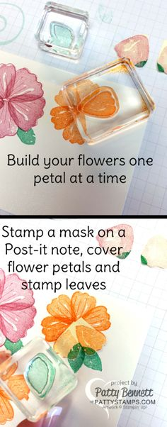 Tips for stamping the Bunch of Blossoms flower stamp and leaves with a Post-it note mask.