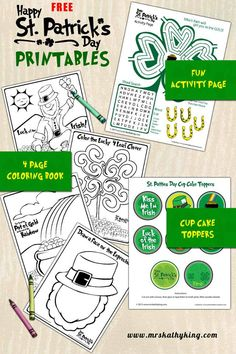 Draw a Face on the Leprechaun, Color the Lucky 4 Leaf Coloring sheet, Pot of Gold Coloring Sheet, Leprechaun Coloring Sheet, St. Patrick's Day Cup Cake Toppers, St. Patrick's Day Activity Sheet