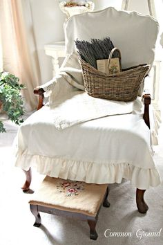 Common Ground: French Lavender, slipcovered chair, sweet stool