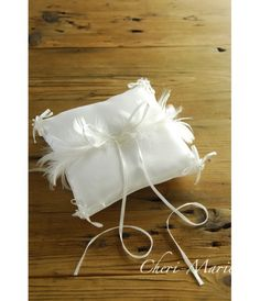 White Satin Ring Pillow With Ribbons And Feathers Autumn Summer, Fall, Ring Pillows, Pillows Online, Garden Theme, Winter Springs, White Satin, Wedding Events, Place Card Holders