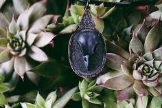 Black Skull Necklace // Black Skull Necklace // by KRUELINTENTIONS