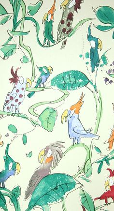 Cockatoos Wallpaper Wonderful Quentin Blake designed wallpaper of Cockatoos in all colours on a pale yellow background