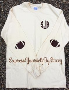 Monogram Football Tee, Elbow Patches, Game Day, Personalized, School Spirit, Football by ExpressYourselfbySta on Etsy