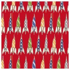 Michael Miller Children at Play Rockets Red by Sarah Jane Outer Space Nursery, Space Themed Nursery, Nursery Themes, Nursery Ideas, Retro Rocket, Sew Mama Sew, Cotton Blossom, Nursery Fabric, Michael Miller Fabric