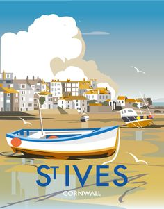vintage travel poster for St Ives Harbour, Cornwall Posters Uk, Art Deco Posters, Illustrations And Posters, Railway Posters, Train Posters, Retro Poster, Retro Print, Poster Vintage, Vintage Signs