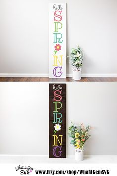 Spring Projects, Spring Crafts, Silhouette Cameo Software, Welcome Signs Front Door, Spring Design, The Design Files, Porch Signs, Hello Spring, Diy Signs