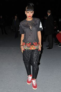 Cassie-Ventura-Givenchy-Pre-Fall-2012-Collection-T-shirt-at-Kanye-West-Show-Paris-1