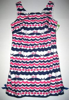 LILLY PULITZER Delia Resort White 12 WHALES TAILS Shift Dress NWT 12