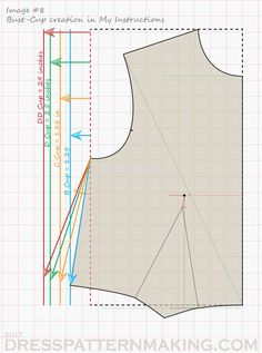 Large-Bust Adjustment - Dress Patternmaking Sewing Tutorials, Sewing Projects, Wedding Dress Sewing Patterns, Full Bust Adjustment, Orange Line, Bodice Pattern, Bra Cup Sizes, Pattern Drafting, Simplicity Patterns
