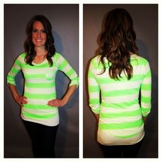 3/4 neon striped shirt! S only at www.lundyjanesboutique.com