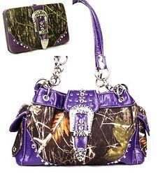 Western Purse Handbag Belt Buckle Camouflage Camo Studs Purple Trim W Wallet