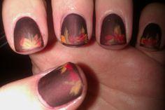 Matte Fall Leaves Nail Art