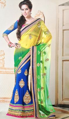 Ready to wear designer saree by Yellow Fashion.  This yellow, blue and green saree is great for evening parties, wedding and other functions. #IndianWear #Fashion #Sari