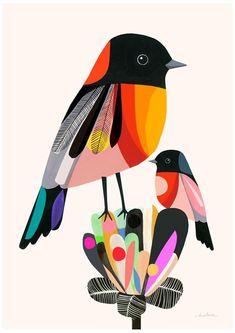 Flame robins fine art archival print folk art inspiration in Art And Illustration, Vogel Illustration, Illustrations, Creative Illustration, Collage Kunst, Collage Art, Posca Art, Art Populaire, Contemporary Abstract Art