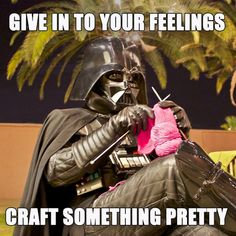 Darth Vader Knitting Cosplay Meme This is a picture of Darth Vader Cosplay Costume, he's knitting outside at the courtyard of Tucson's Maker House. Knitting Quotes, Knitting Humor, Crochet Humor, Funny Crochet, Cosplay Meme, Bead Crochet, Double Crochet, Caricature, Vintage Patterns