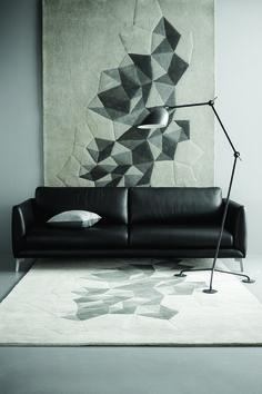 Carpet on the wall Thing 1, Boconcept, Fashion Lighting, Rugs On Carpet, Carpets, Shades Of Grey, Floor Lamp, Living Room, Retro