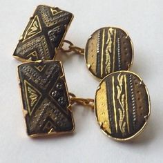 Vintage DAMASCENE CUFFLINKS Chain Link Gold, Black and Silver Design FREE P&P