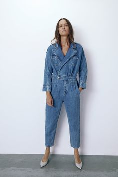 ZARA - Female - jumpsuit in arizona blue - Light blue - Xs Bodycon Jumpsuit, Jumpsuit Outfit, Denim Jumpsuit, Zara Jumpsuit, Denim Fashion, Look Fashion, Fashion Outfits, Fall Outfits, Rompers Women