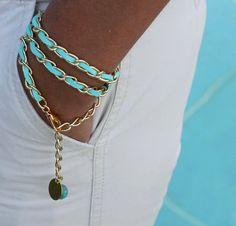 Boho Woven GOLD CHAIN Triple Wrap Bracelet - Aqua TURQUOISE Faux Suede - 11X6mm Chain - Dangle Charms - Any Size - Wholesale - Ref 491. $14.99, via Etsy.