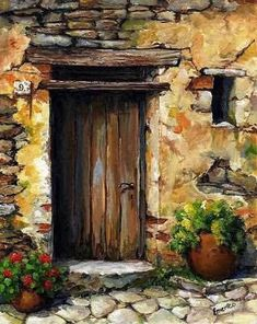 Mediterranean Portal by Emerico Imre Toth - Mediterranean Portal Painting - Mediterranean Portal Fine Art Prints and Posters for Sale Watercolour Painting, Painting & Drawing, Painting Abstract, Painting Doors, Painting Flowers, Abstract Flowers, Watercolors, Abstract Nature, Portal Art