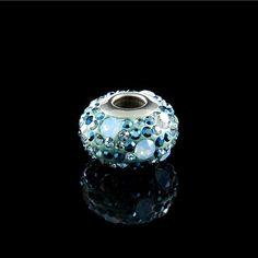 Berloque Steel Crystal Swarovski Branco e Azul - Prata Fina - Joias em Prata