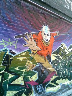 the last air bender - Aang Street Art. This totally made my day! OMG. <3