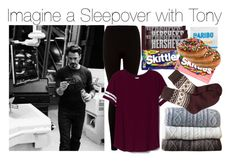 """Imagine a Sleepover with Tony"" by fandomimagineshere ❤ liked on Polyvore featuring Victoria's Secret PINK, Johanna Howard, Brooks Brothers, Hershey's and River Island"