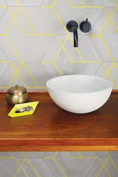 an ultra modern bathroom look with geometric matte grey tiles and neon yellow grout Yellow Bathrooms, Rustic Bathrooms, Modern Master Bathroom, Small Bathroom, Bathroom Mirrors, Bathroom Ideas, Bathroom Grey, Classic Bathroom, Onyx Tile