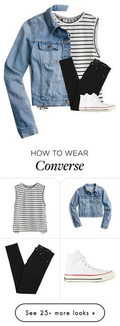 """""""Untitled #3915"""" by laurenatria11 on Polyvore featuring J.Crew, Yves Saint Laurent and Converse"""