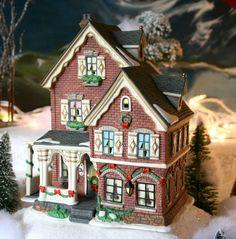 Christmas Decoration. Porcelain House for Xmas Village.  Christmas Village Element with Light Kit.