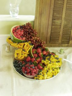 cascading fruit displays | the fruit display was made by me although i didn t cut up the fruit ...