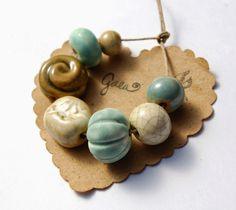 Gaea Ceramic Bead and Art Studio Blog: Vintage garden handmade ceramic bead sets. gaea.cc