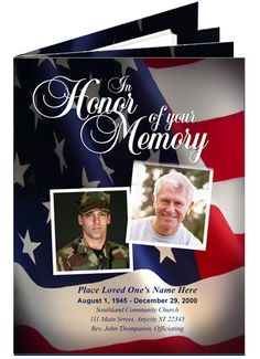 Funeral Booklets: Military or Patriotic US Flag Large Tabloid Booklet Templates