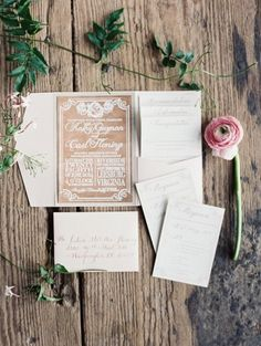 Rustic wedding invitations: http://www.stylemepretty.com/little-black-book-blog/2014/12/16/rustic-chic-wedding-at-riverside-on-the-potomac/ | Photography: Laura Gordon - http://www.lauragordonphotography.com/