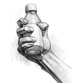 Drawing Hands From the premium demo on how to draw hands holding stuff. I was trying to make it look like he's squeezing the bottle really hard by showing the compression in the finger fat pads. Hand Drawing Reference, Drawing Hands, Art Reference Poses, Drawings Of Hands, Holding Hands Drawing, Drawing Drawing, Drawing Tips, Drawing Ideas, Anatomy Sketches