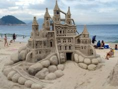 Sand sculpture of a castle.