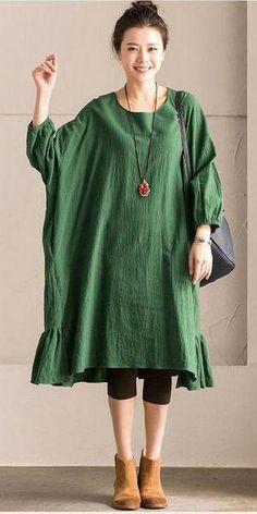 c9920b3a GREEN KOREAN STYLE COTTON LINEN FALBALA BAT SLEEVE ROUND NECK LOOSE WOMEN  CLOTHES Q8300B #koreanclothingstyles