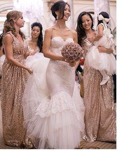 Sequin bridesmaids dresses :-):-)