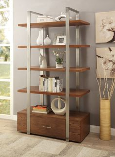 One-Drawer Bookcase in Brown   Coast to Coast Imports   Home Gallery Stores