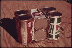 https://flic.kr/p/6PcezJ | Basic Building Block of Experimental Housing Being Built of Empty Steel Beer and Soft Drink Cans near Taos, New Mexico. a Total Of Eight Cans Weighing 14 Ounces Are Wired Together And Placed In Mortar In The Outside Walls At a Cost Of 15 Cents Per Unit. | Original Caption: Basic Building Block of Experimental Housing Being Built of Empty Steel Beer and Soft Drink Cans near Taos, New Mexico. a Total Of Eight Cans Weighing 14 Ounces Are Wired Together And Placed In…