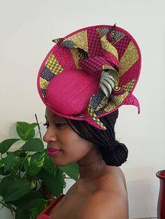 Ankara fabric and Sinamay Side Upsweep Fascinator with Spiral Detail. Ankara Fashion - Ankara fabric and Sinamay Side Upsweep Fascinator with Spiral Detail. Ankara Fabric, African Fabric, African Prints, Facinator Hats, Fascinators, African Hats, African Attire, African Wear, African Style