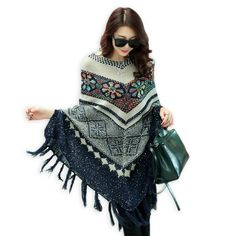 Womens Capes And Ponchoes Vintage Geometric Pattern Batwing Sleeve Poncho 2015 Autumn Ethnic Pullover Casual Sweater With Tassel(China (Mainland))
