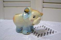 Vintage Elephant Planter Blue Pink Baby Nursery by PanchosPorch