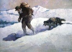 """Frank E. Schoonover - Trapper and Mac 1928 Oil on canvas, 28 inches x 38 inches """"Mac Battles for the Code,"""" Hubert Reginald Evans, American Boy, February 16 - Kelly Collection American Illustration Art American Illustration, Illustration Art, Vintage Illustrations, Indian Paintings, Oil Paintings, Norman Rockwell, Western Art, Crazy Cats, American Art"""