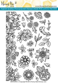 Honey Bee Stamps - Clear Acrylic Stamps - Zen Floral at Scrapbook.com