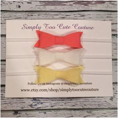 Coral White and Pale Yellow Felt bow Nylon by SimplyTooCuteCouture