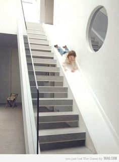 Staircase slide {I have boys...this would be a great way to deter them from ever sliding down the banister or in a box down the stairs! yay for safe fun!}
