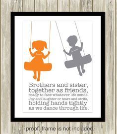 Sister and brother wall art, siblings art, personalized kids art, shared room decor. boy girl art, brother sister quote, custom colors by PicabooArtStudio