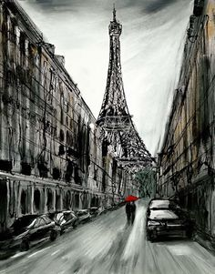 Paris Nights by Paul Kenton - Landscape Paintings & fine art pictures available in our gallery - Free delivery on all orders over Paris At Night, Paris Travel, France Travel, Paul Kenton, Examples Of Art, Red Umbrella, Outside World, Vintage Paris, Dancing In The Rain